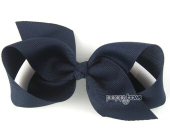 NEW STYLE - Loopy Pinwheel Hair Bow - Navy Blue Hairbow 3.5 Inch Solid Color Boutique Bow for Baby Toddler Girls 1.5 Inch Wide Ribbon