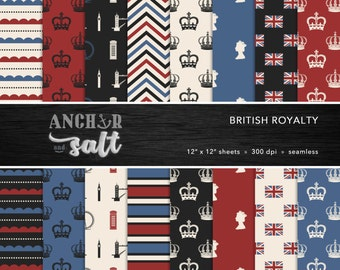 British Royalty Digital Paper Set -- Vintage, London, England, UK Royalty, United Kingdom, Scrapbook, Seamless -- Personal or Commercial Use