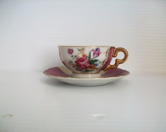 vintage purple and gold Demitasse cup and saucer . vintage shabby table decor . purple and white stripe . gold and purple . signed Japan