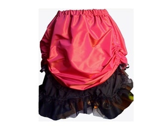 Burlesque skirt saloon girl skirt Pink and gold two tone taffeta and lace.