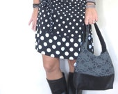 Leather and lace hobo bag in black and gray. Choose size, strap length, and interior color.