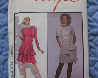 1987 NEW Caroline Charles For Style London Sewing Pattern 1241 Dress Sash Size N 10 12 14