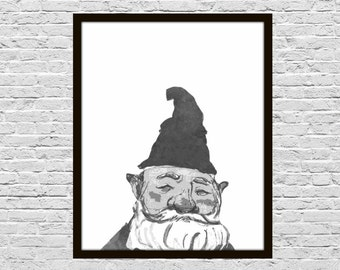 Gnome Digital Print - Black and White, 8x10 Printable, Gardener Gift