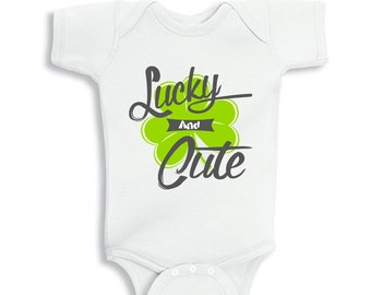 Lucky and Cute Shamrock baby bodysuit