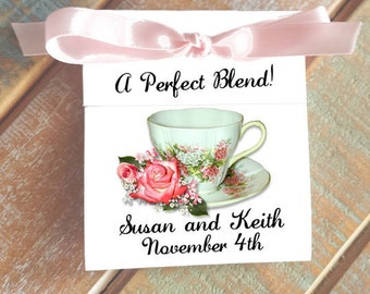 Cute Pretty in Pink Coral Roses Personalized Tea Bag Wedding and Bridal Shower Party Favors