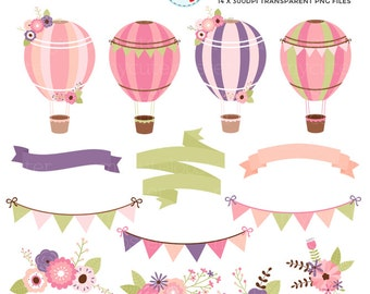 Floral Hot Air Balloons Clipart Set - banners, bunting, flowers, hot air balloon - personal use, small commercial use, instant download