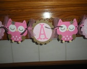 It's A Girl Baby Shower Banner, Pink and Brown Owl Banner, Owl Banner, Photo Prop Matching Tissue Pom Poms Are Available