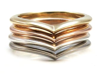 Crested Chevron Stacking Ring Wedding Band - Sterling Silver, Yellow Gold, Rose Gold or White Gold