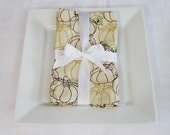 Fall Pumpkins Cloth Napkins - Double Sided, Thick and Large - set of 2