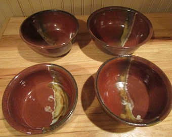 Set of 4 Pottery Bowls, Serving Bowls, Handmade Pottery, Entertaining