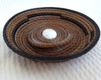 White Howlite center pine needle basket