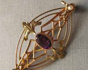 On Sale Antique 10 Karat Gold Leaf Pin Brooch Jewelry With Amethyst And Pearls