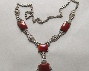 On Sale Antique Sterling Silver Carnelian Marcasite Necklace Art Deco Jewelry
