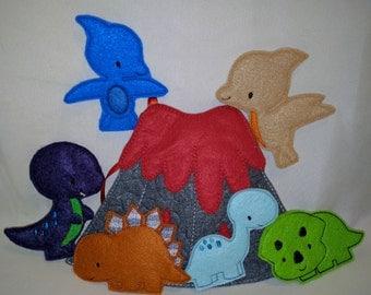 Dinosaur Felt Finger Puppet Set and Bag
