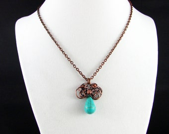 Wire Wrapped Necklace Turquoise Necklace Wire Wrapped Jewelry Free Form Wire Wrap Copper Necklace Wire Wrapped Pendant