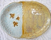 Bee Platter, small ceramic platter, honeycomb plate, organic shape, Save the Bees, Gold aqua platter, flowers and bees, serving platter