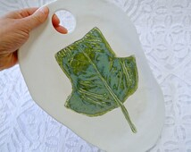 Cheese Platter, Ceramic Cheese Board, Tulip Tree Leaf, Fall Decor, White Pottery, Teal Leaf platter, Minimalist pottery, Botanical Pottery