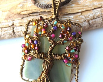 Tree of Life SOS Relic Antique Stained Glass Vintage Bronze Wire Wrap Pendant Eco Friendly Upcycled