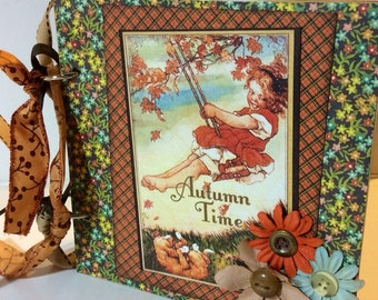 Thanksgiving scrapbook premade pages chipboard book- 6 x 6 scrapbook album fall memories family