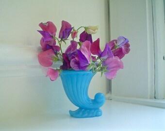 Tiny Vintage Vase of Sky Blue Glass, Cornucopia Shape