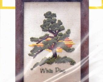 "StitchKins ""White Pine"" Cross Stitch Kit Sealed, Frame Included"