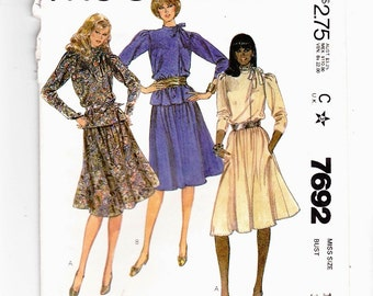 "McCall's 7692 Misses' Asymmetrical Blouse and Skirt Size 14 Bust 36"" Uncut Pattern Factory Folds"
