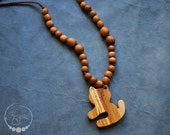 Apple Wood Kitty Nursing Necklace / Teething Necklace / Mommy Jewelry / Handmade Lightweight Wood and Cotton Necklaces for moms