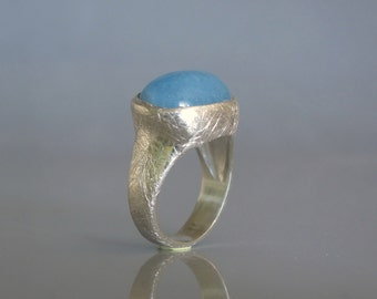 Blue quartz ring , Oval gemstone ring , Statement ring, Light blue ring