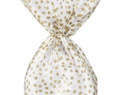 Antique Gold Polka Dot Cellophane Bags - Treat Bags - Clear Goodie Bags - See Through Bakery BagsPack of 20