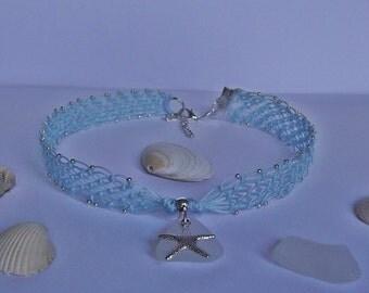 Sea glass choker - Micro macrame choker - Boho beach necklace - sea glass necklace.
