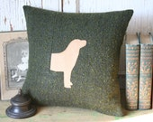 Yellow Labrador Pillow Cover - Vintage, Green Wool, Recycled, Vintage 14 Inch - FREE SHIPPING