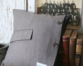 Brown Wool Menswear Pillow Cover -  14 Inch, Pocket, Recycled