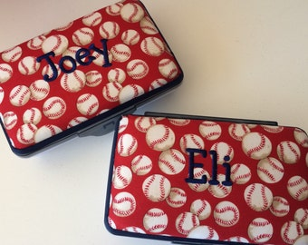 Personalized Kids School Pencil Box Case Baseball