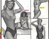 80s Ann Person Color Blocked Maillots One Piece Swim Suits Stretch & Sew Pattern 1378 Bust 30 32 34 36 38 40 42 46 UnCut