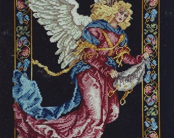 90s Angelica Designed by Donna Vermillion Giampa Counted Cross Stitch Kit Heraldic Angel Janlynn Kit 125 208 Vintage Birthday Gift for Her