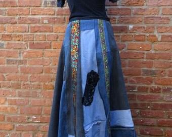 Maxi Jean Skirt,Upcycled Jean Skirt,Boho Skirt,Hippie Skirt,Nine Muses Of Crete