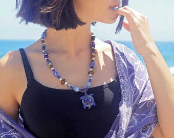 LA MER Handcrafted Artisan Glass and Wood Necklace