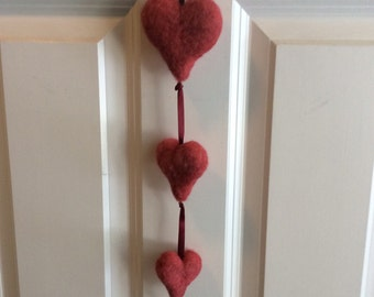 Needle Felted Valentine Hearts Hanging Ornament