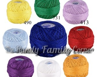 Cotton Perle Crochet Thread #16 Mercerised gassed carded Cotton (mercerized) Hypoallergenic Irish crochet yarn Tatting Color variations DSH