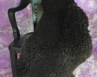 Black Wensleydale Lambskin Rug Pelt