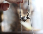 Luna Neaera ; Rustic sterling silver or bronze and gold filled  moon phase necklace.