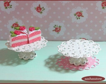 Shabby chic miniature cake stand, cake display, dollhouse miniature, cake holder, miniature serveware