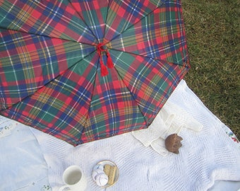 Plaid Parasol, Scottish Highland Games Parasol, Red tassels, Faux Leather Edging, Scottish Brolly, Plaid Brolly