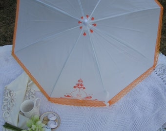 Orange White Lace Parasol, Victorian Parasol, Tea Party Parasol, 2nd line, Parasols, Victorian Parasols, Orange Parasol, Cosplay, LARP