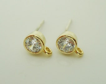 F-645. 2 pair, Gold Plated Clear Crystal Cubic Zirconia Ear Post, Ear Post Finding