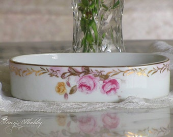 Pretty Vintage Pink ROSES LEFTON  China SOAP Dish, Bathroom Decor, Shabby Chic, Cottage
