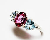 """Pink topaz ring, topaz accent ring, 3 stone ring, blue pink,  wedding anniversary ring s 6 3/4  """"Ice Castles"""""""