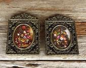 Italian Prints in Metal Frames Still Life Prints in Ornate Metal Frames Miniture Framed Prints Made in Italy
