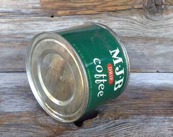 M J B Coffee Can Green Coffee Tin Mid Century Kitchen San Francisco Rustic Primitive Home Decor