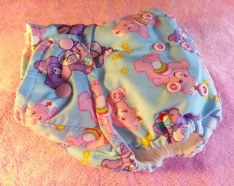 SassyCloth one size pocket diaper with care bears cotton print. Ready to ship.